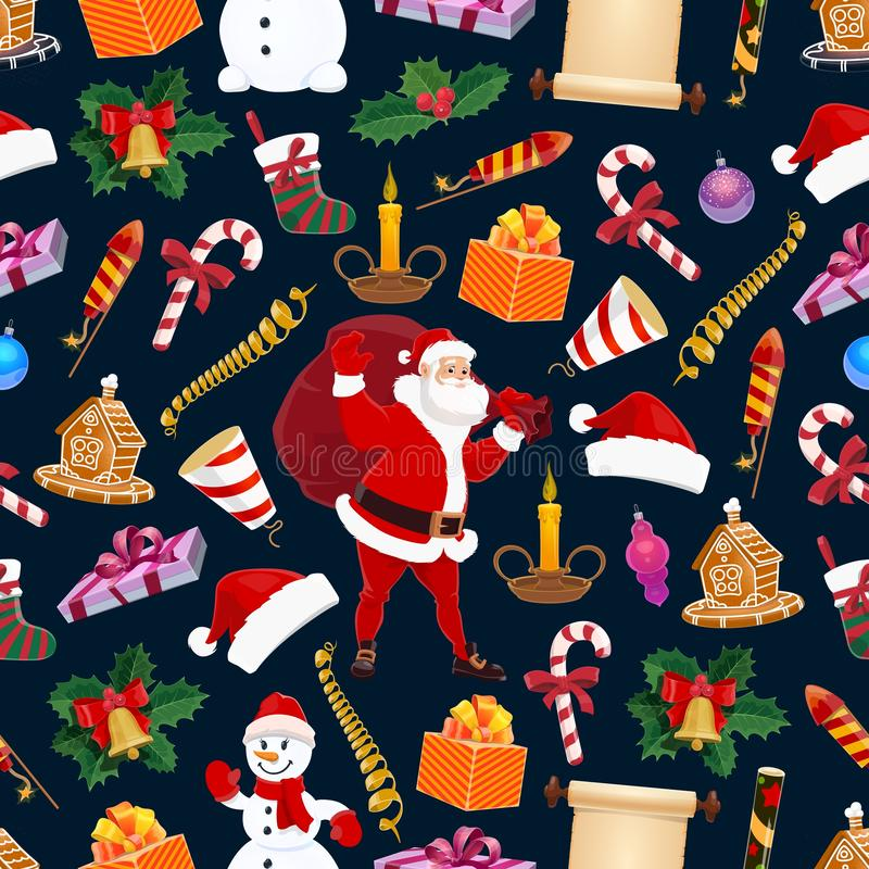 Winter Christmas holiday, vector seamless pattern stock illustration