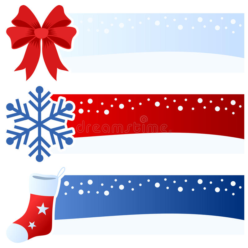 Winter or Christmas Horizontal Banners. A collection of three wintertime or Christmas horizontal banners with a red bow, a snowflake and a hanging sock on blue vector illustration