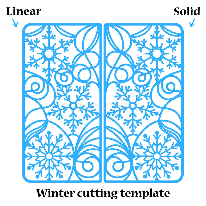 Winter Christmas invitation or greeting card with abstract snowflakes ornament. stock illustration