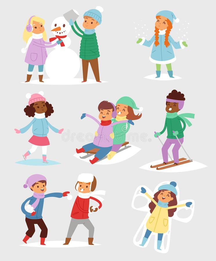 Winter Christmas kids playing games outdoor street playground children wintertime kids playing sport games of kinds. Snowball, skating stock illustration