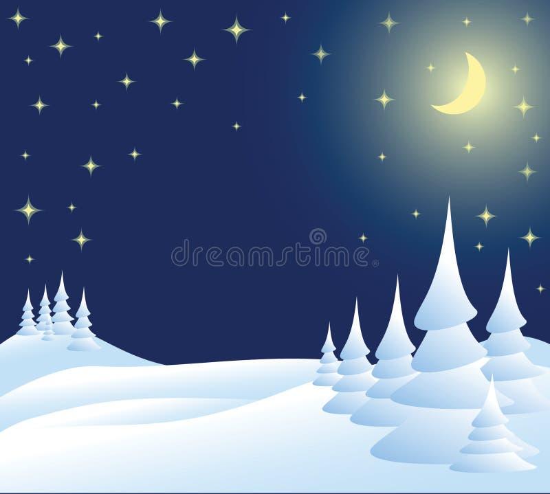 Winter christmas landscape. In night vector illustration