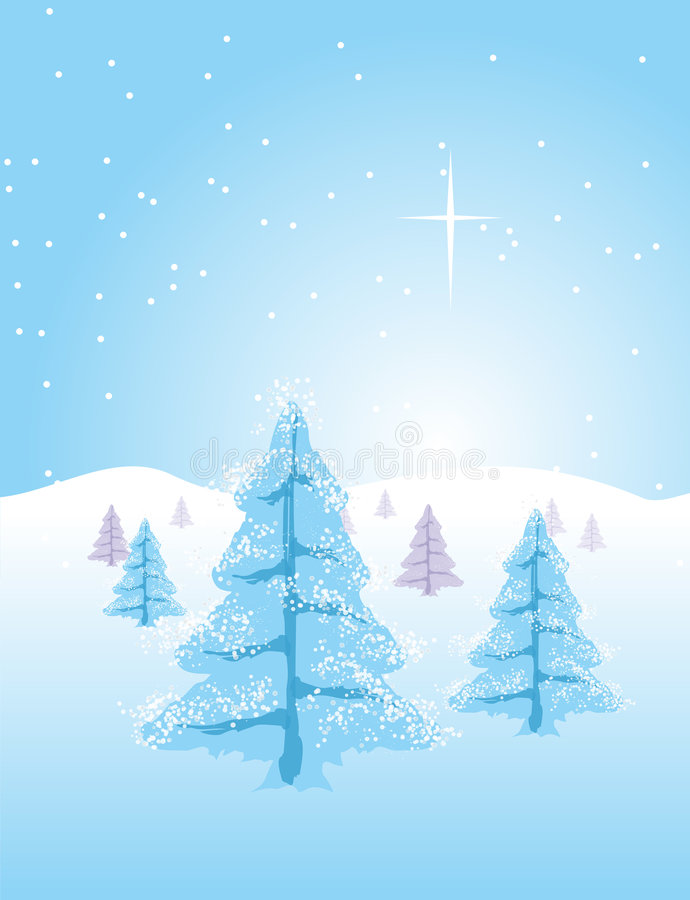 Winter Christmas Landscape. Winter or Christmas landscape. Trees full of snow and the comet star in the sky vector illustration