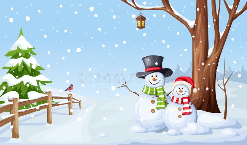 Winter Christmas landscape with snowmen. Vector illustration. stock illustration