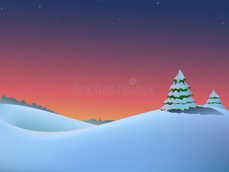 Winter christmas landscape with trees and red royalty free illustration