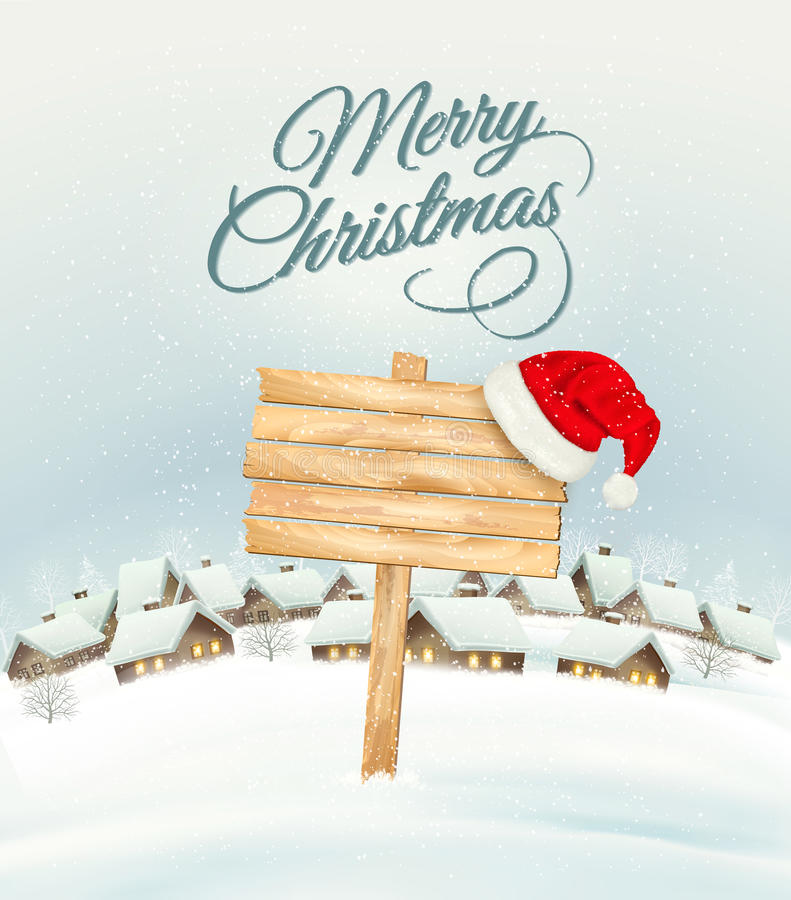 Winter Christmas landscape with a wooden ornate sign background. And santa hat. Vector royalty free illustration