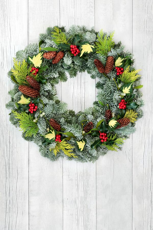 Winter and Christmas Natural Floral Wreath stock photo