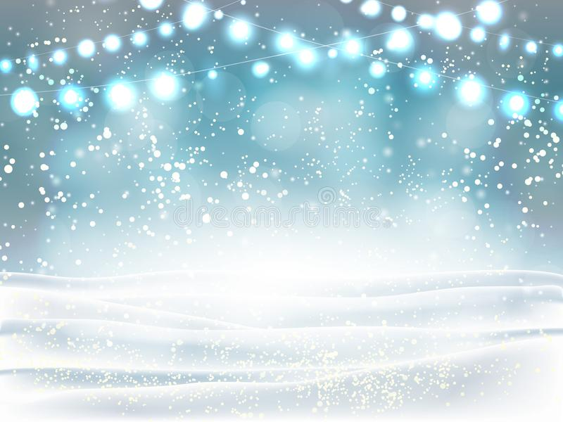 Winter Christmas and new year background heavy snowfall, snowflakes of different shapes and forms, snowdrifts, garlands. Winter la vector illustration