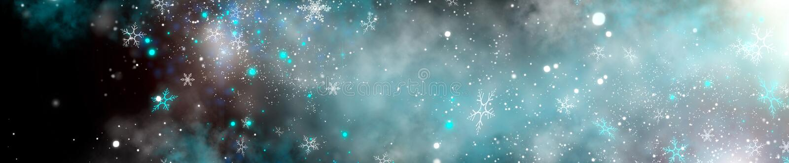 Winter Christmas and New Year glittering snow flakes swirl on black bokeh background, backdrop with sparkling blue stars. Holiday garland, magic glowing stars stock photo