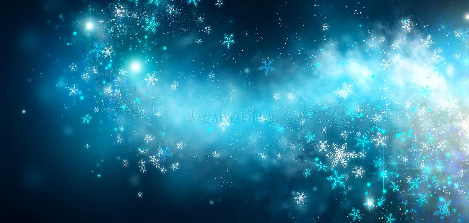 Winter Christmas and New Year glittering snow flakes swirl on black bokeh background, backdrop with sparkling blue stars. Holiday garland, magic glowing stars stock images