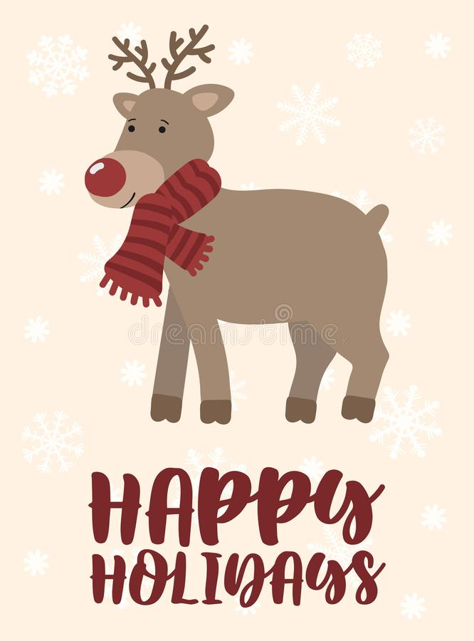 Winter Christmas and New Year illustration. Vector image of a cartoon reindeer in a scarf. Hand-drawn greeting card on a backgroun royalty free illustration