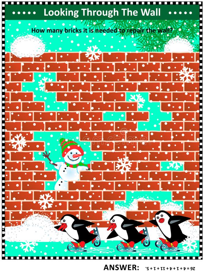Winter, Christmas or New Year themed visual math puzzle with absent bricks. Winter, Christmas or New Year themed visual math puzzle with holes in red brick wall stock illustration