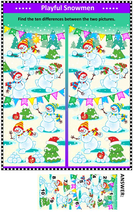 Find the differences picture puzzle with playful playful snowmen stock illustration