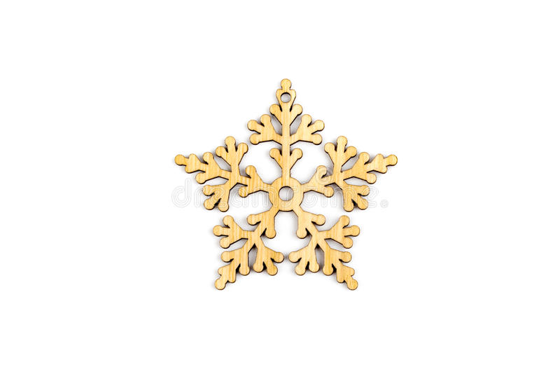 Winter,Christmas, New Year wooden decoration - snowflake, star. royalty free stock photo