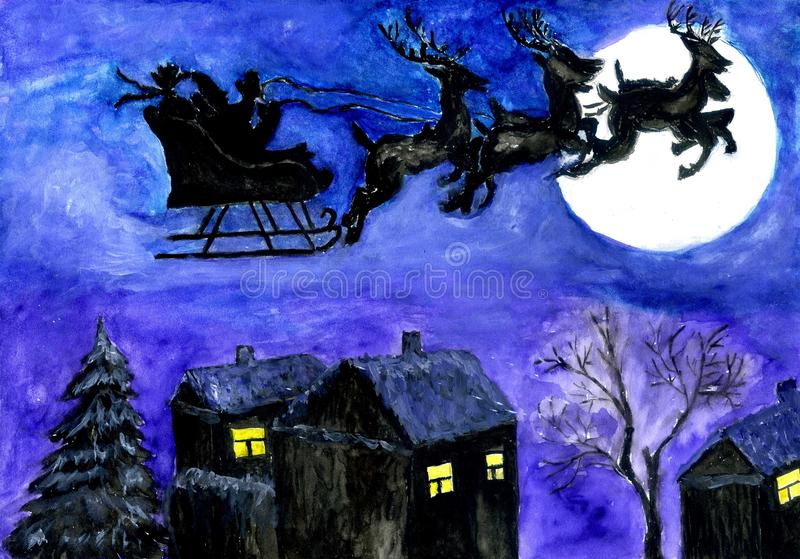 Santa Night Flight royalty free illustration