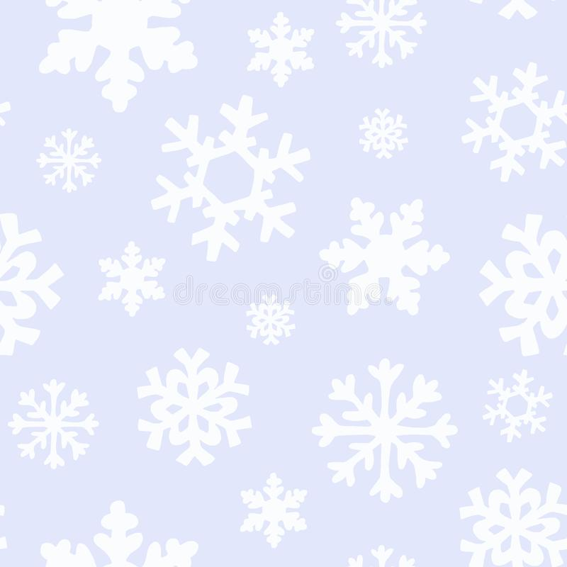 Winter Christmas pattern with white and silver silhouettes of snowflakes, berries, leaves, branches, snowman, trees. royalty free illustration