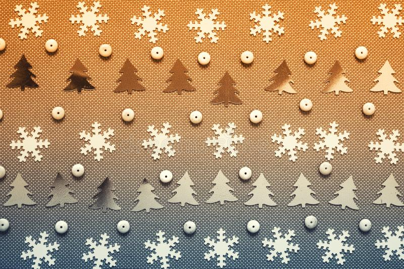 Winter Christmas pattern in yellow blue gradient royalty free stock photos