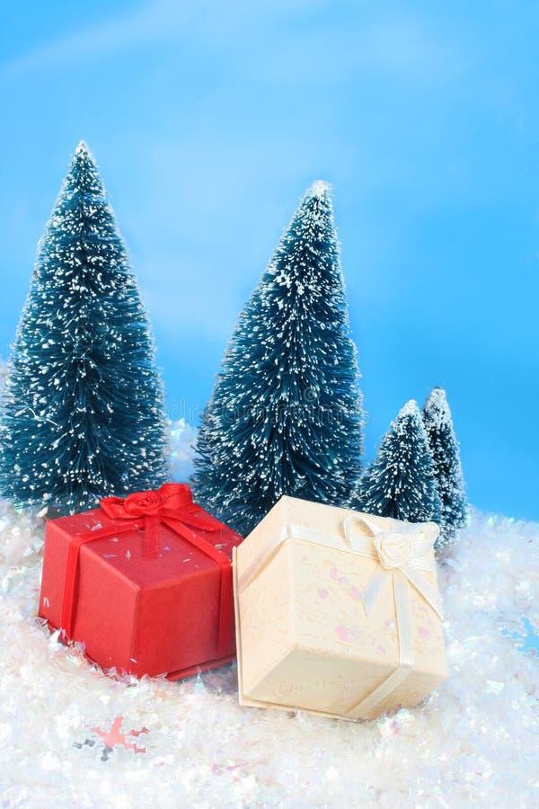 Winter christmas presents stock photo