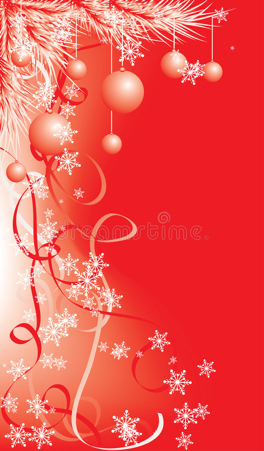 Winter, Christmas red background with snowflakes, vector stock illustration
