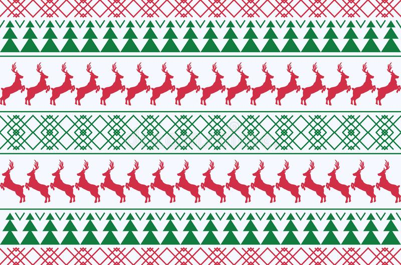 Winter Christmas seamless deer and tree pattern background. Vector Illustration. S stock illustration