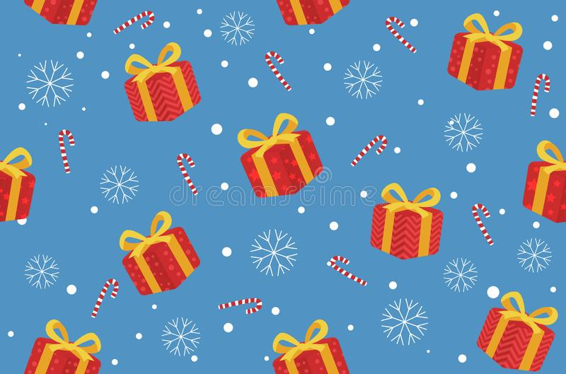 Winter Christmas seamless pattern gift and candy background. Vector Illustrations royalty free illustration