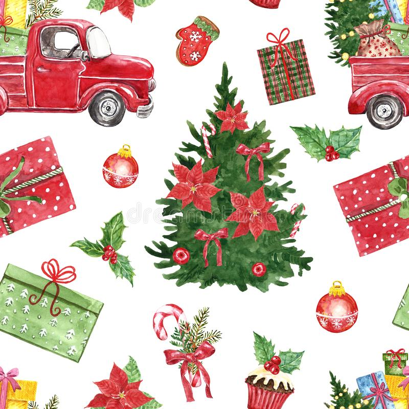 Winter Christmas seamless pattern. Watercolor red pick up truck, pine tree, holly, poinsettia, candy cane, gifts vector illustration
