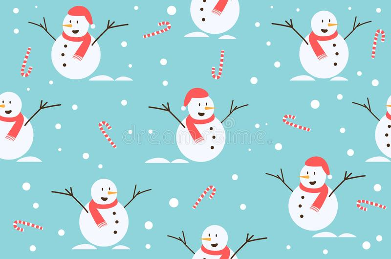 Winter Christmas seamless snowman and candy pattern background. Vector Illustration. S royalty free illustration