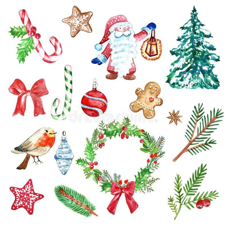 Winter Christmas set of holiday elements and symbols, green and red color. fir and pine branches, red berries, gnome, candy cane vector illustration