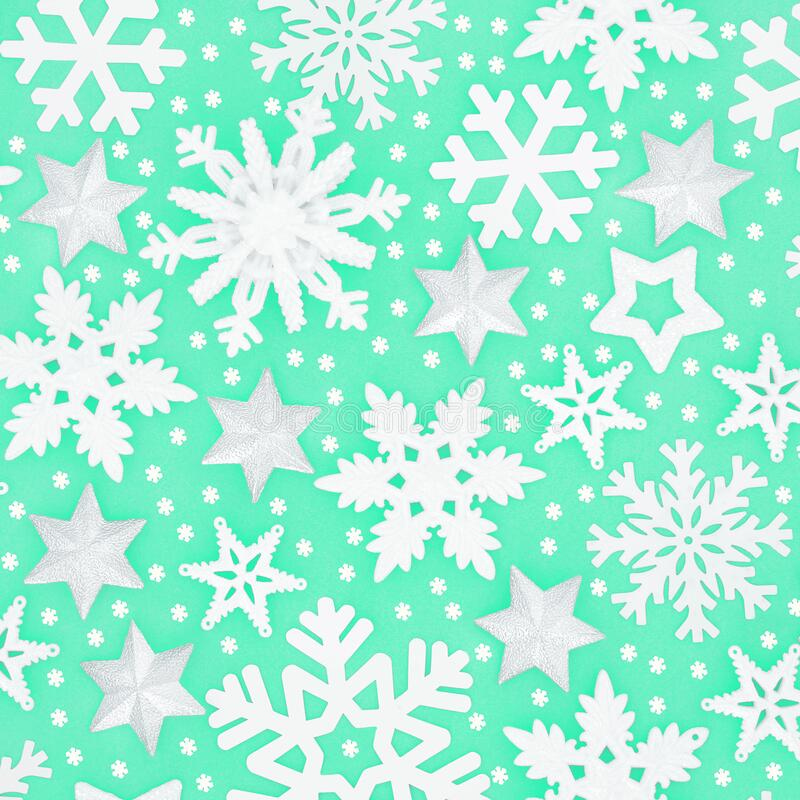Winter and Christmas Snowflake and Star Pattern royalty free stock photography