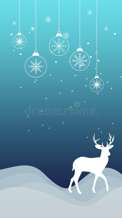 Winter Christmas snowflakes reindeer ornament snowfall wallpaper. Christmas wallpaper with snowflakes, ornaments, snow and reindeer silhouette outline. Ideal for