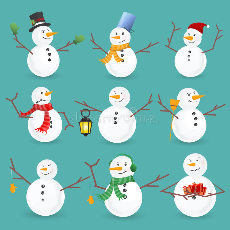 Winter Christmas snowmen collection. Vector illustration. vector illustration