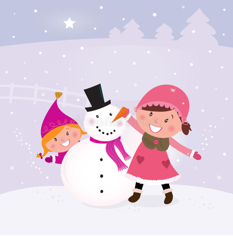 Download Winter And Christmas: Two Happy Children Making Sn Stock Vector - Image: 17488920