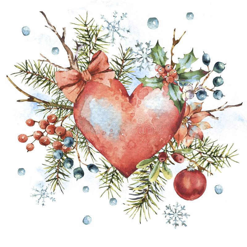 Winter Christmas watercolor natural greeting card with red heart. Holly, snowflakes, branches, berries, spruce, isolated vintage illustration, new year design vector illustration