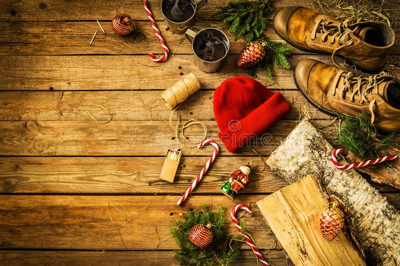 Winter christmas weekend in country cabin concept royalty free stock photos