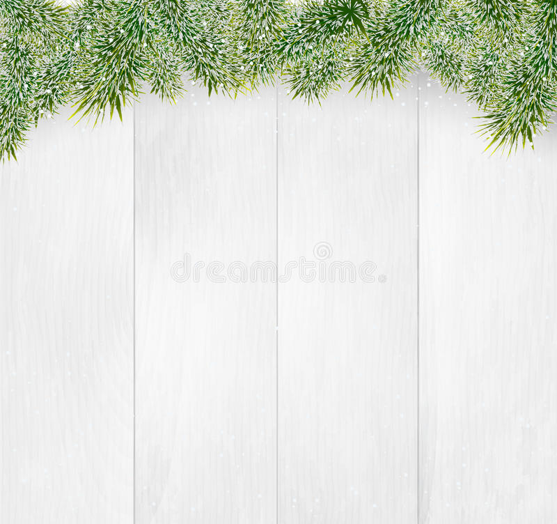 Winter christmas wooden background with fir branches and fluffy snow. Illustration stock illustration