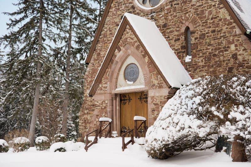 Download Winter Church stock image. Image of doors, hingers, evergreen - 7746269