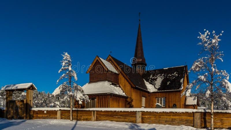 Winter church stock image
