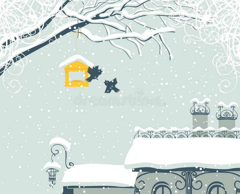 Winter city stock illustration