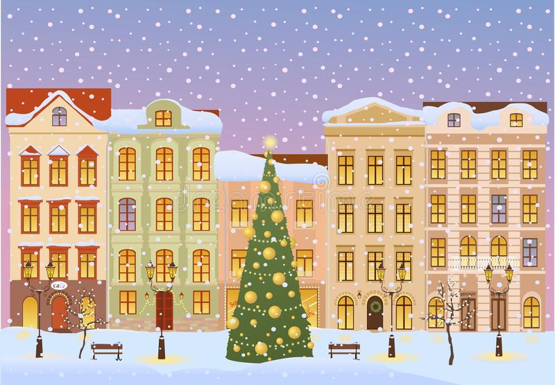 Winter city with christmas tree vector illustration