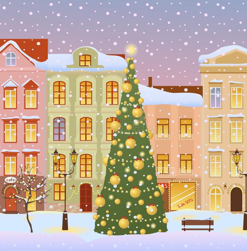 Winter city with christmas tree royalty free illustration