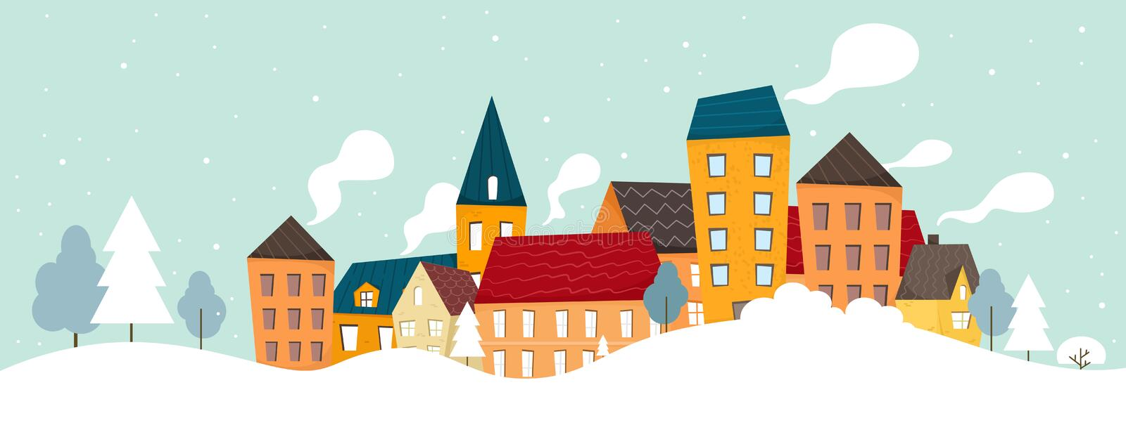 Winter and snowy city background. Vector illustration in cartoon flat style. Winter and snowy city background. Vector stock illustration