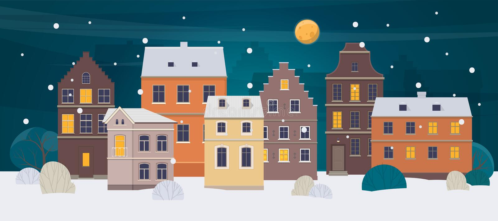 Winter city landscape. Old town with different houses at night. Vector illustration royalty free illustration