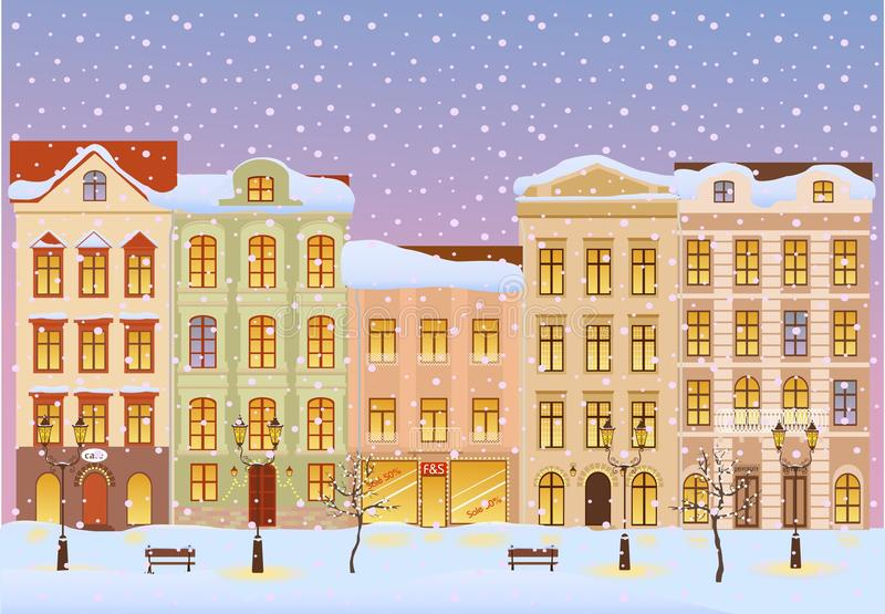 Winter city with lights stock illustration
