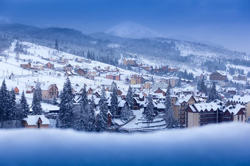 Winter city in the mountains stock photo
