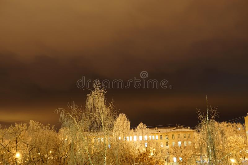 Winter in the city. Night snowbound city royalty free stock image