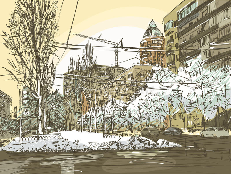 Winter city painting royalty free illustration