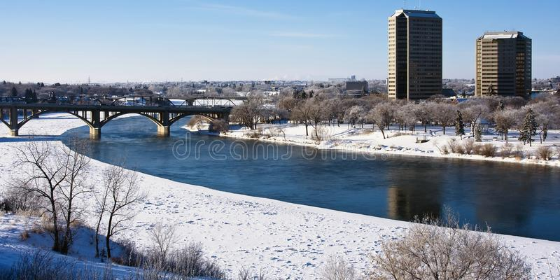 Winter in the City of Saskatoon, Canada. Buildings and architecture on a frosty winter day in Saskatoon, Canada stock photography
