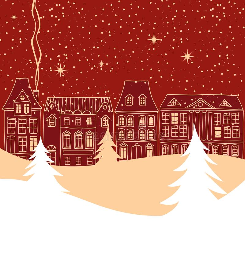 Winter city scene with old fashioned houses silhouettes vector illustration