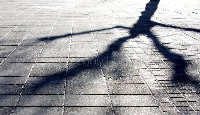 Winter city shadows stock photo
