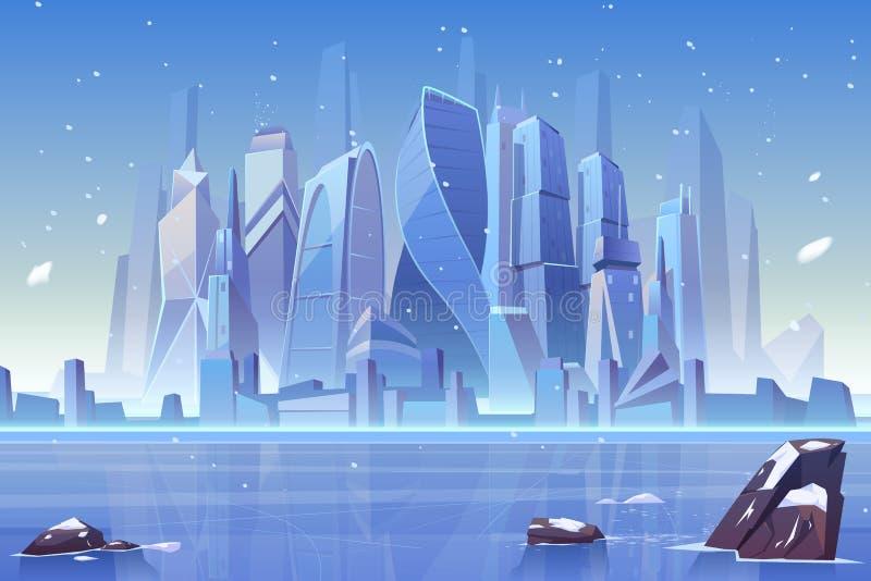 Winter city skyline at frozen bay, architecture. Winter city skyline at frozen waterfront bay. Futuristic metropolis architecture view under fallen snow. Luxury stock illustration