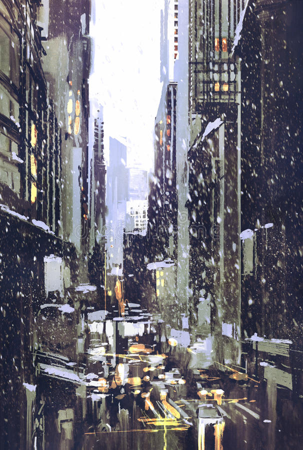 Winter city with snow vector illustration